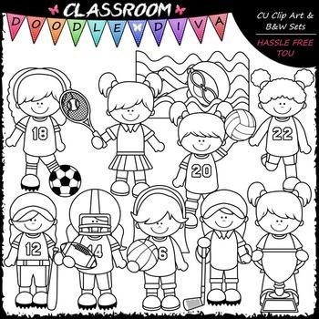 Sports Girls - Clip Art & B&W Set