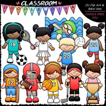 Sports Girls Clip Art - Sports Kids Clip Art & B&W Set