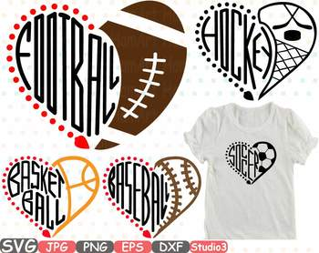 Sports Heart Balls NFL MLB NCAA NBA NHL Silhouette SVG clipart spot ball 725s