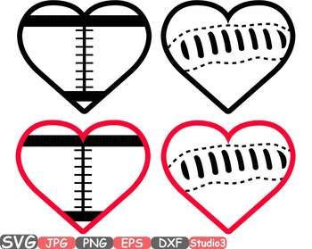 Sports Heart Balls clipart Baseball Soccer Basketball Football Valentines 698s