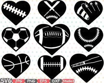 Sports Heart Balls clipart Baseball Soccer Basketball Football Valentines 700s