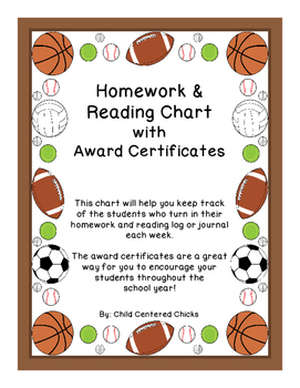 Homework and Reading Teacher Tracking Chart with Award Certificates Sports