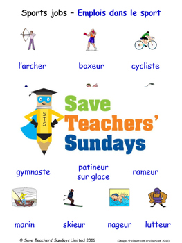 Sports Jobs in French Worksheets, Games, Activities and Flash Cards