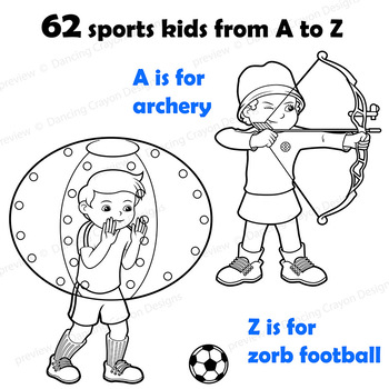 Sports Kids Clip Art BUNDLE: 62 Sports!