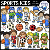 Sports Kids Clip Art Set
