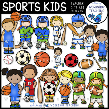 Sports Kids Clip Art Set (42 Graphics) Whimsy Workshop Teaching