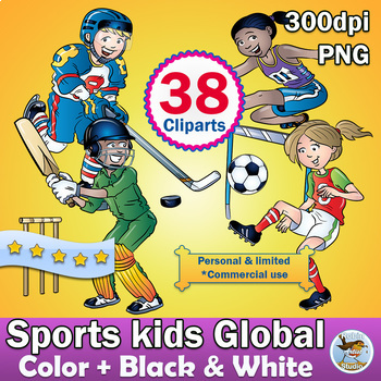 38 Sports Physical Education Global Clipart, Color plus Black and White clip art