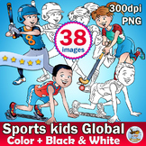 38 Sports Physical Education Global Clipart, Color plus Bl