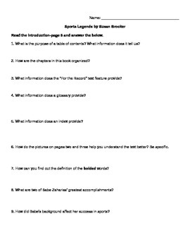 Sports Legends by Susan Brocker - Comprehension Questions