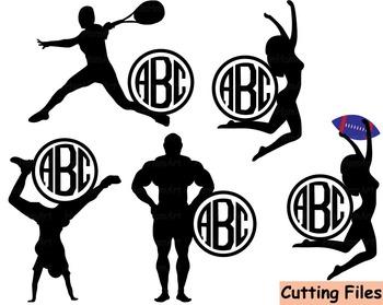 Sports Logo black clip art Cutting files svg balls sporting tennis football -38S