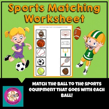 sports matching game by early childhood resource center tpt. Black Bedroom Furniture Sets. Home Design Ideas