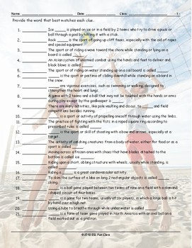 Sports Matching Worksheet