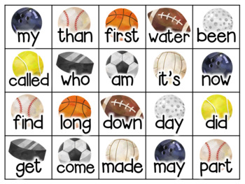 Sports Math Facts and Sight Words Flash Cards