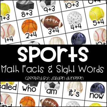 Sports Math Fact and Sight Word Flash Cards {Editable!}
