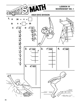 Sports Math Lesson 10 Division, High Dive Division, swimming