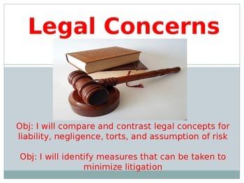 Sports Medicine Legal Concerns Unit: 5 days of lessons