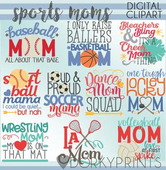Sports Mom Word Art Digital Clip Art