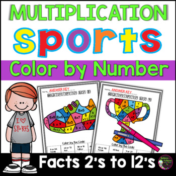 Sports Multiplication Color by Number- 2's to 12's