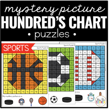 Sports Mystery Picture Hundred's Chart Puzzles