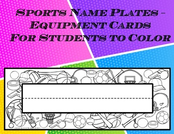 Sports Name Plate to Color