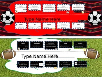Sports Name Plates/ Desk Tags- with Reading & Fluency Tips- Editable