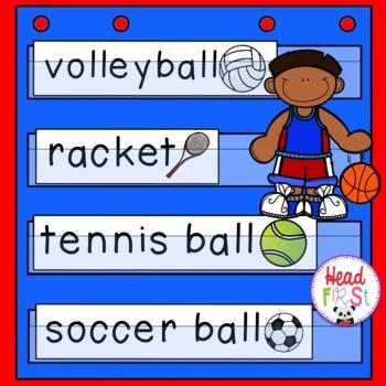 Sports Pictionary Cards - Vocabulary, Writing Center, Write the Room