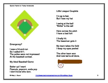 Sports Poems for Poetry Notebooks