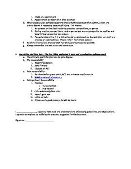 Sports Program Parent Contract