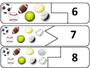 Sports Puzzles 0-10 Matching Balls, Numbers and Number Words