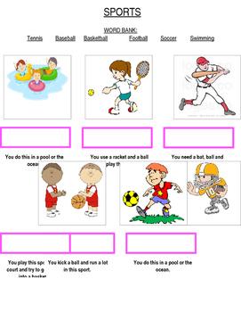 Sports Receptive ID & Writing