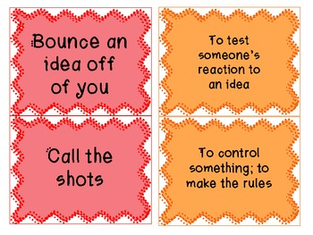 Sports-Related Idioms Concentration Activity Packet
