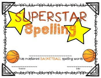 Sports Related Spelling Certificates