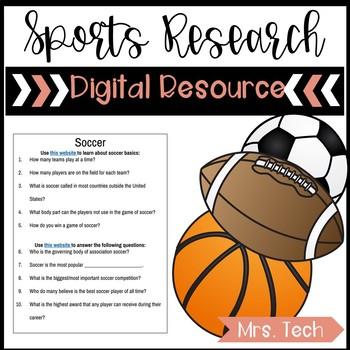 Sports Research Webquest Digital Resource