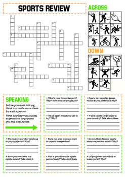 Sports Review: Crossword and Speaking Practice