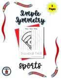 Sports - Simple Symmetry - Draw Color Trace - 5 pages