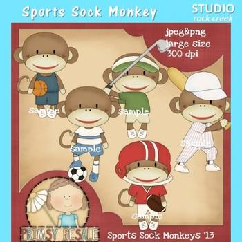 Sports Sock Monkey Clip Art Color  personal & comm use Primsy Resale