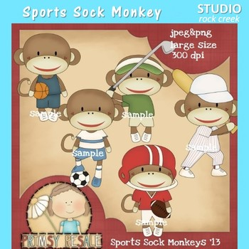 Sports Sock Monkey Clip Art Color  personal & comm use Primsy Resale