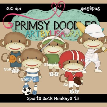 Sports Sock Monkeys 300 dpi clipart