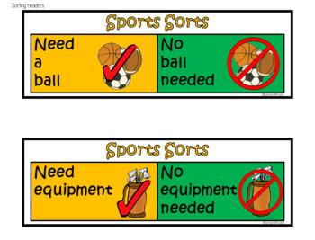 MATH CENTER: Sports Sorts
