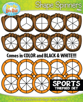 Sports Spinner Shapes Clipart {Zip-A-Dee-Doo-Dah Designs}