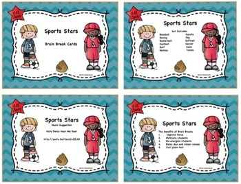 Sports Stars (Brain Break Cards, Powerpoint, Station Posters)