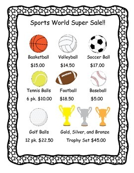 Sports Store Shopping Task Cards