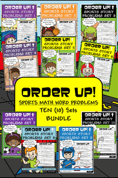 Sports Story Problems Order Up! Bundle (10 Sets)