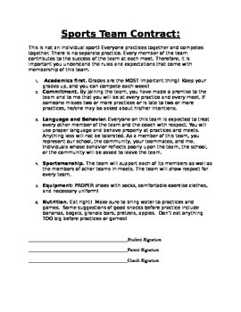 Sports Student Contract