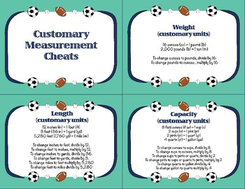 Sports Task Cards - Customary Measurements
