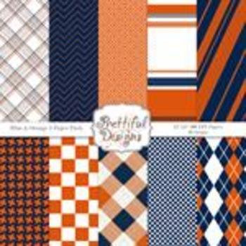 Sports Team Color Papers Blue and Orange