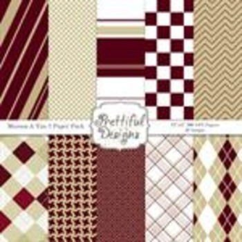 Sports Teams Paper Pack Maroon and Tan