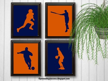 Sports Theme Orange and Navy Football Baseball Soccer & Basketball Posters
