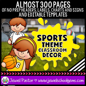 Sports Theme Classroom Decor EDITABLE (Sports Classroom Decor)