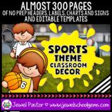 Sports Theme Classroom Decor EDITABLE (Sports Classroom Th